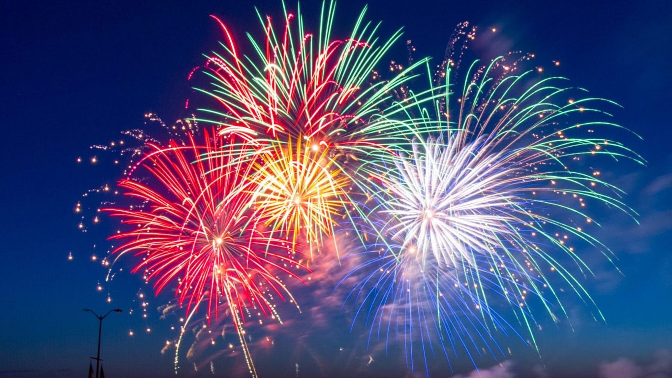 Fireworks in the sky as a symbol of a celebration