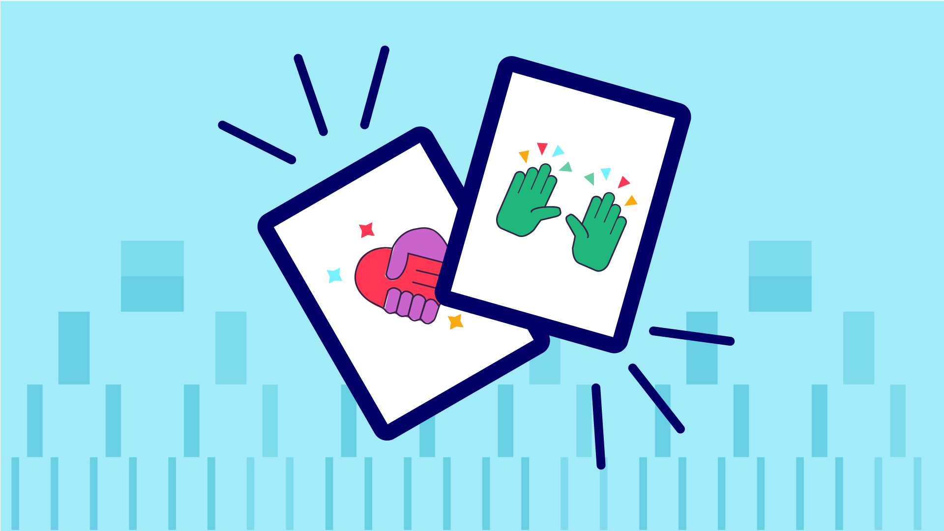 Two flash cards presented on a playful angle