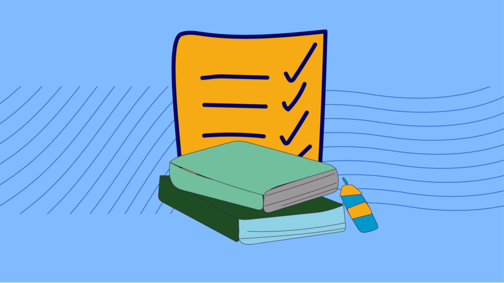 Drawing of a diary and checklist to indicate written records