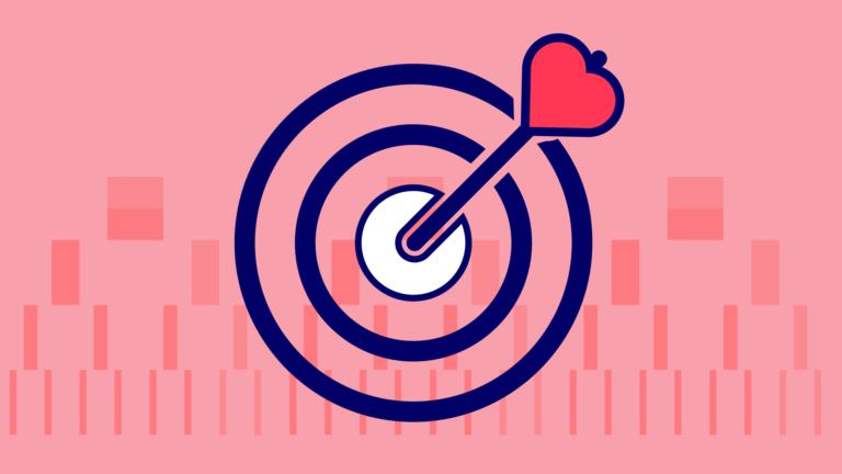 A target with a heart as an arrow
