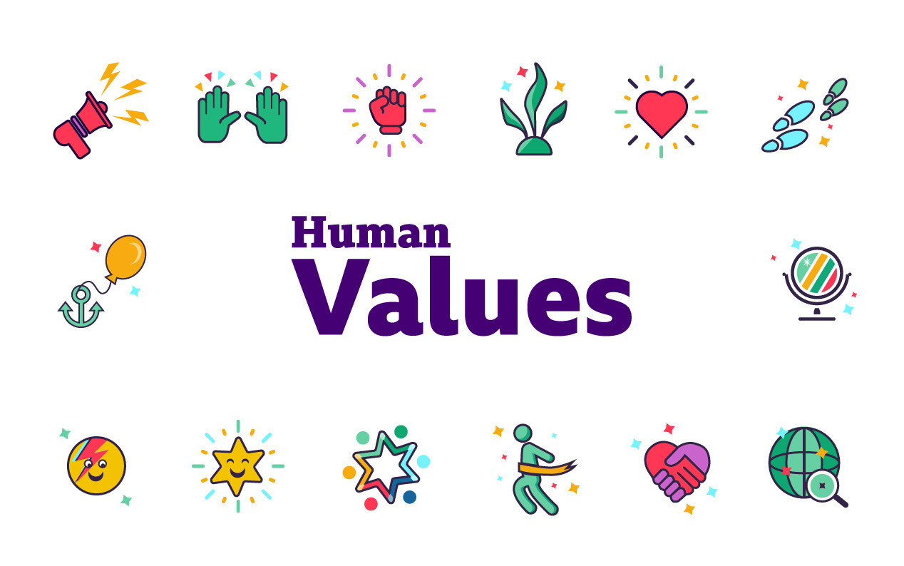 human values title image showing 14 icons