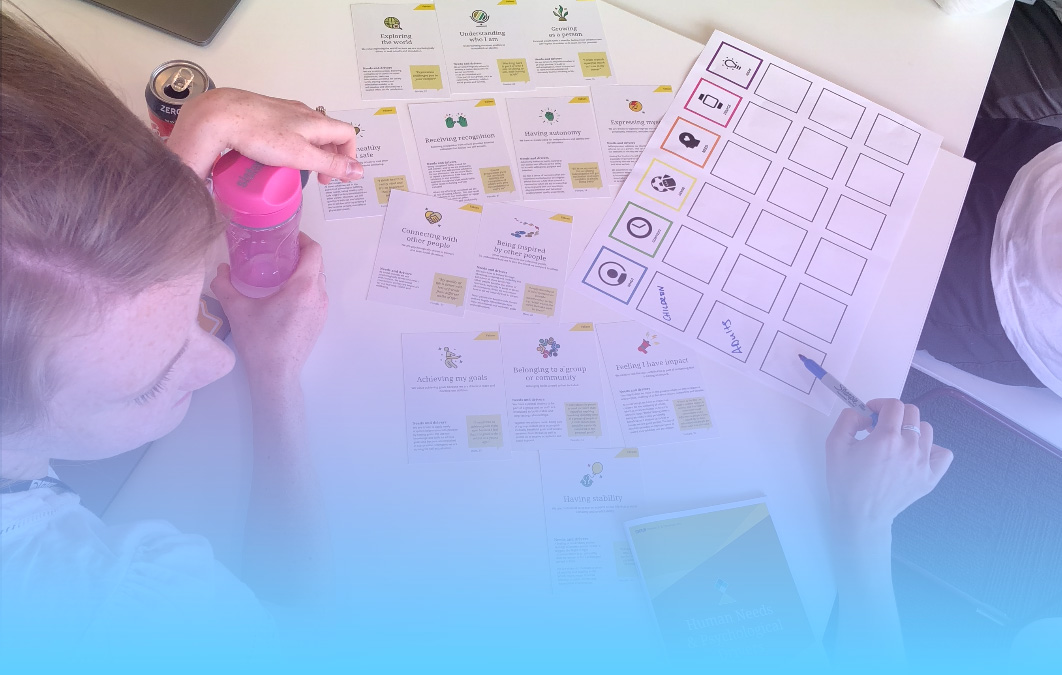 Image of a table using cards and worksheets from a workshop